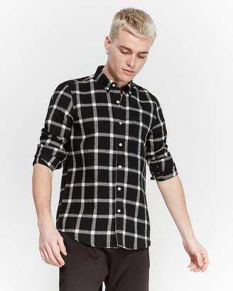 Just Junkies Black Waffle Button-Down Sport Shirt