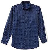 Visconti Long-Sleeve Box Check Woven Jacquard Shirt