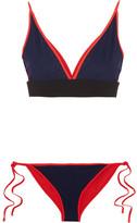 Jonathan Simkhai Reversible Bonded Jersey Triangle Bikini - Midnight blue