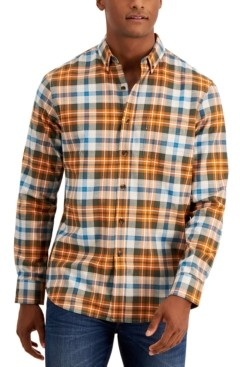 Club Room Men's Soft Brushed Cotton Plaid Shirt, Created for Macy's