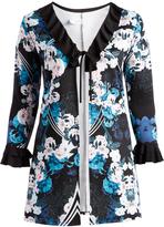 Glam Black & White Floral Tie-Front Open Cardigan - Plus