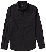 Armani Exchange Solid Dobby Long-Sleeve Woven Shirt