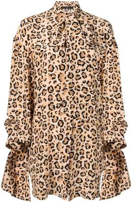 Rokh Leopard Print Draped Shirt