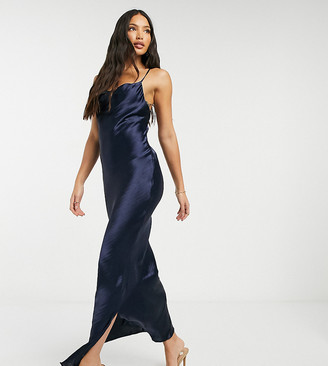 ASOS DESIGN Tall cami maxi slip dress in high shine satin with lace up back