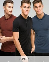 Asos 3 Pack Muscle Polo Shirt In Chestnut/Black/Blue SAVE