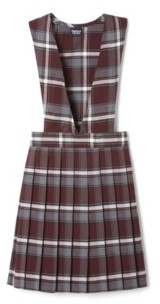 French Toast Big Girls V-Neck Pleated Plaid Jumper