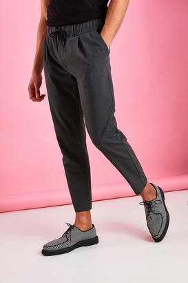 boohoo Mens Grey Skinny Fit Crop Trousers With Pleats, Grey
