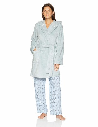Mae Amazon Brand Women's Tweeded Shaggy Plush Wrap Robe with Hood