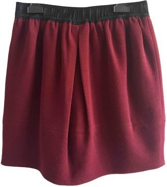 Sandro Burgundy Wool Skirt for Women
