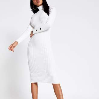River Island Womens Cream roll neck cable knitted bodycon dress
