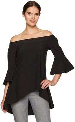 Glamorous Women's Bardot Fluted Sleeve Off Shoulder Top