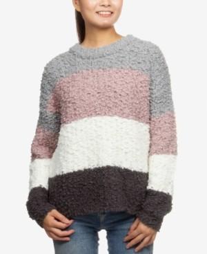 Hippie Rose Juniors' Striped Plush Pullover Sweater