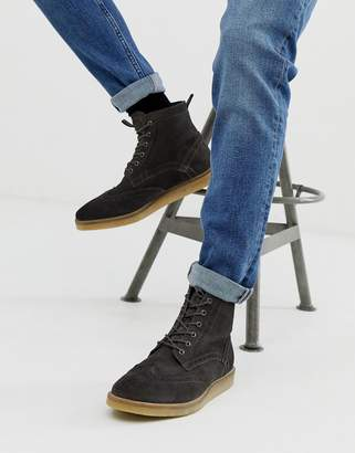 Asos Design DESIGN brogue boots in gray suede with natural sole