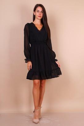 Lilura London Dobby Lace Mini Dress With Shirred Waist In Black
