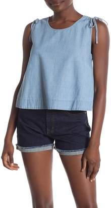 Madewell Crop Swing Chambray Tank Top