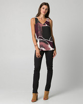 Le Château Abstract Print Crepe de Chine Shell Top