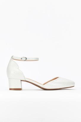 Wallis White Ankle Strap Block Heel