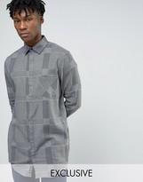 Cheap Monday Hid Check Longline Shirt Flannel Gray