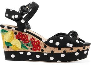 Dolce & Gabbana Embroidered Polka-dot Crepe Sandals