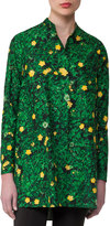 Akris Buttercup-Print Voile Tunic, Forest