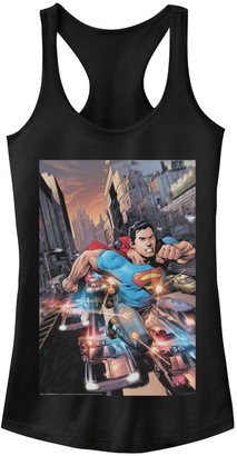 Licensed Character Juniors' DC Comics Superman Flashing Lights Poster Tank Top