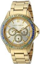 Vince Camuto Women's VC/5086MTGB Swarovski Crystal Accented Multi-Function Gold-Tone Bracelet Watch