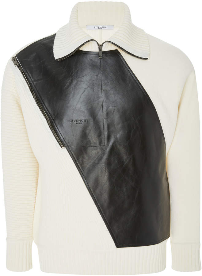 Givenchy Leather Panel Rib-Knit Wool Sweater
