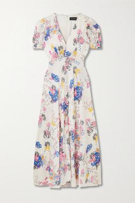 Saloni Lea Floral-print Silk-satin Jacquard Midi Dress - Cream