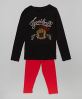 Beary Basics Black & Red 'Football Sister' Tee & Leggings - Toddler & Girls