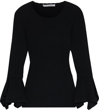 Autumn Cashmere Fluted Pointelle Knit-paneled Ribbed-knit Sweater