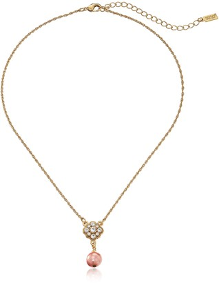 """1928 Jewelry Gold-Tone Simulated Sandy Taupe Pearl and Crystal Adjustable Pendant Necklace 16""""+3'' Extender"""