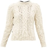 La Fetiche - Marilyn Cable-knit Wool Sweater - Womens - Black Cream