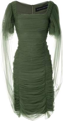 Gloria Coelho square neck draped tulle dress