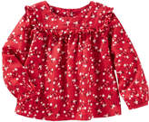 Osh Kosh Oshkosh Long Sleeve Red Floral Shirt Girls