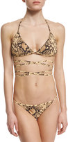 Michael Kors Python-Print Wrap Two-Piece Bikini Set