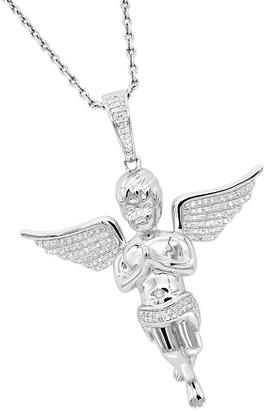 Luxurman 10k Solid Gold .5-carat Diamond Men's Baby Angel Pendant