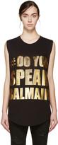 Balmain Black Do You Speak T-Shirt