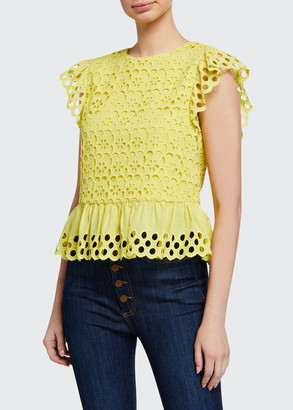 Alice + Olivia Sue Embroidered Ruffle-Sleeve Top