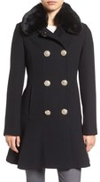 Kate Spade Double Breasted Twill Coat With Faux Fur Collar