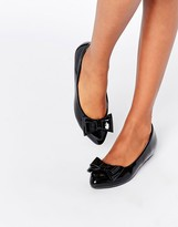 Glamorous Black Patent Ballerina Bow Shoes