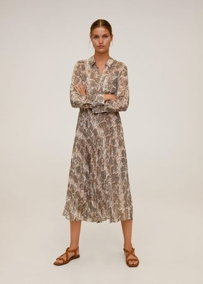 MANGO Snake print shirt dress brown - 2 - Women