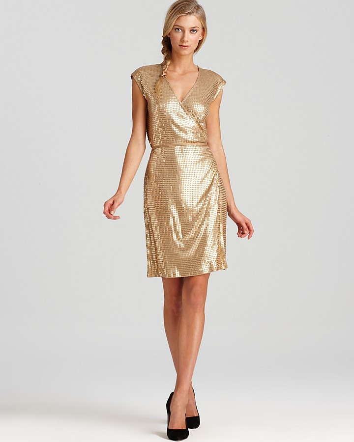 MICHAEL Michael Kors Petites Sequin Wrap Dress