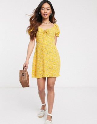 Gilli mini tea dress in yellow floral