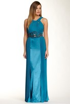 Sue Wong N4312 Pleated Embroidered Empire Waist Sheath Gown