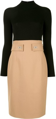 Paule Ka Two-Tone Fitted Dress