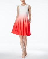 Calvin Klein Dip-Dyed Ombré Fit & Flare Dress