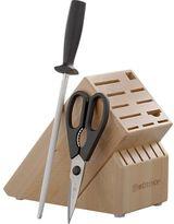 "Wusthof Classic Black 3-Piece Starter Set: 9"" sharpening steel, kitchen shears and 17-slot hardwood knife block."