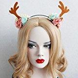 Missgrace Women Christmas Antlers Flower Headband Women Party Halloween Headdress Hair Accessories Women Hair Jewelry