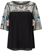Somerset by Alice Temperley Lily Embroidered Top, Black
