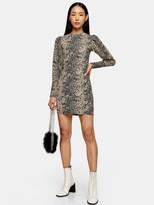Topshop Snake Puff Sleeve Crinkle Mini Dress - Multi